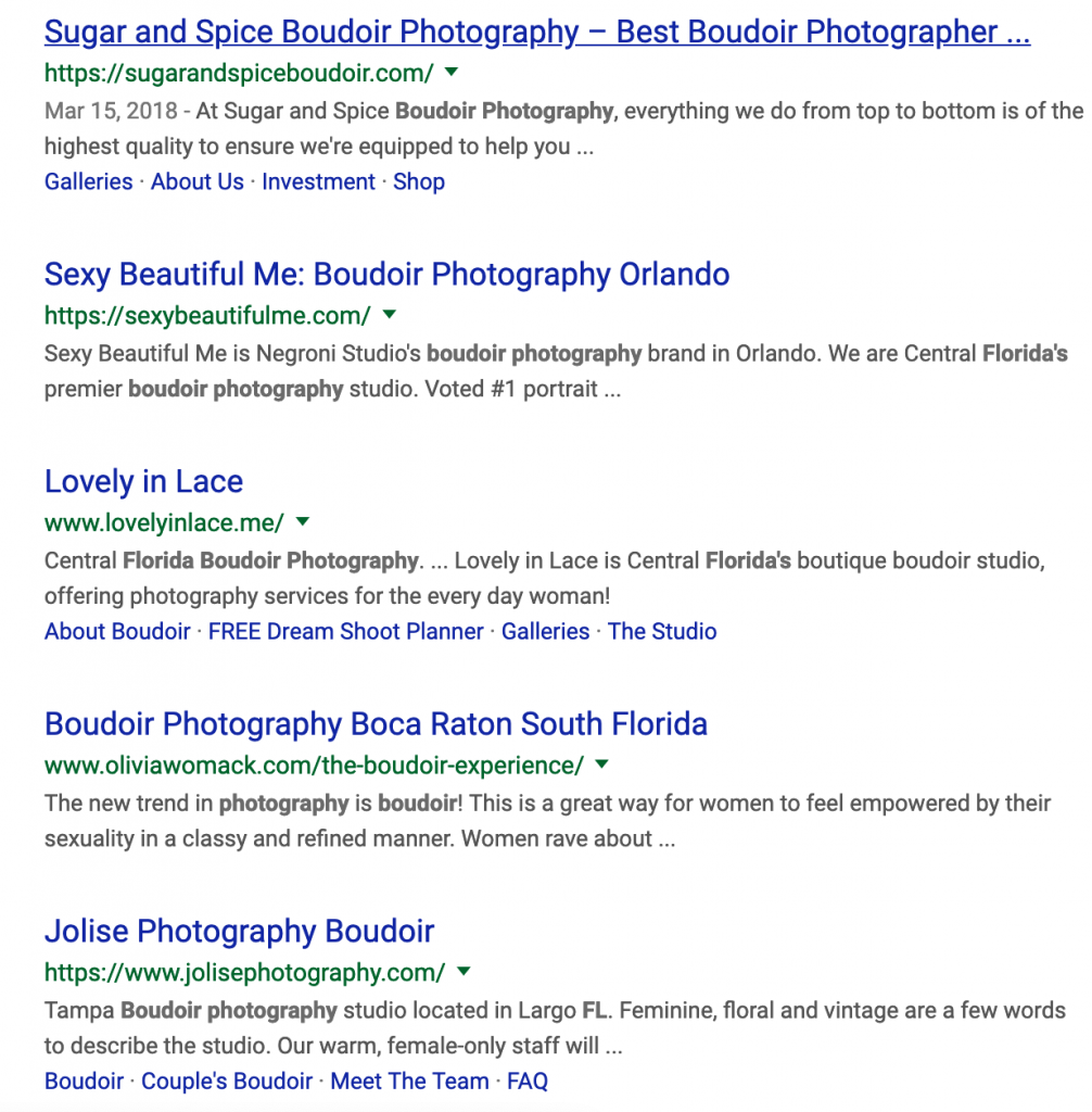 Example of boudoir organic search results