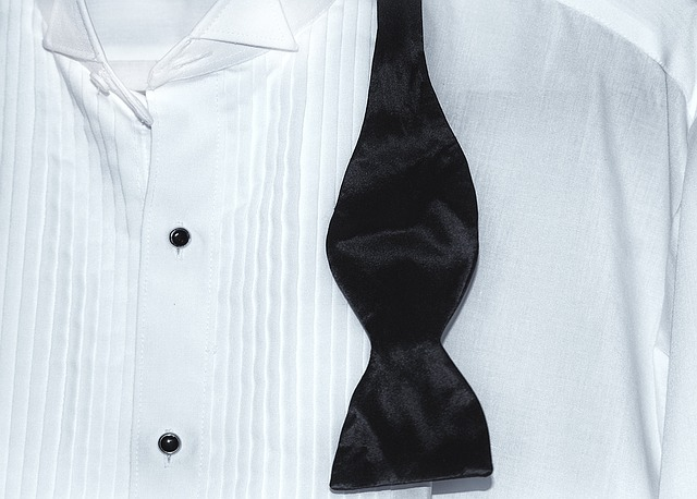 white tuxedo shirt and black bow tie