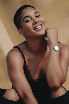 Boudoir image of black woman in black lingerie