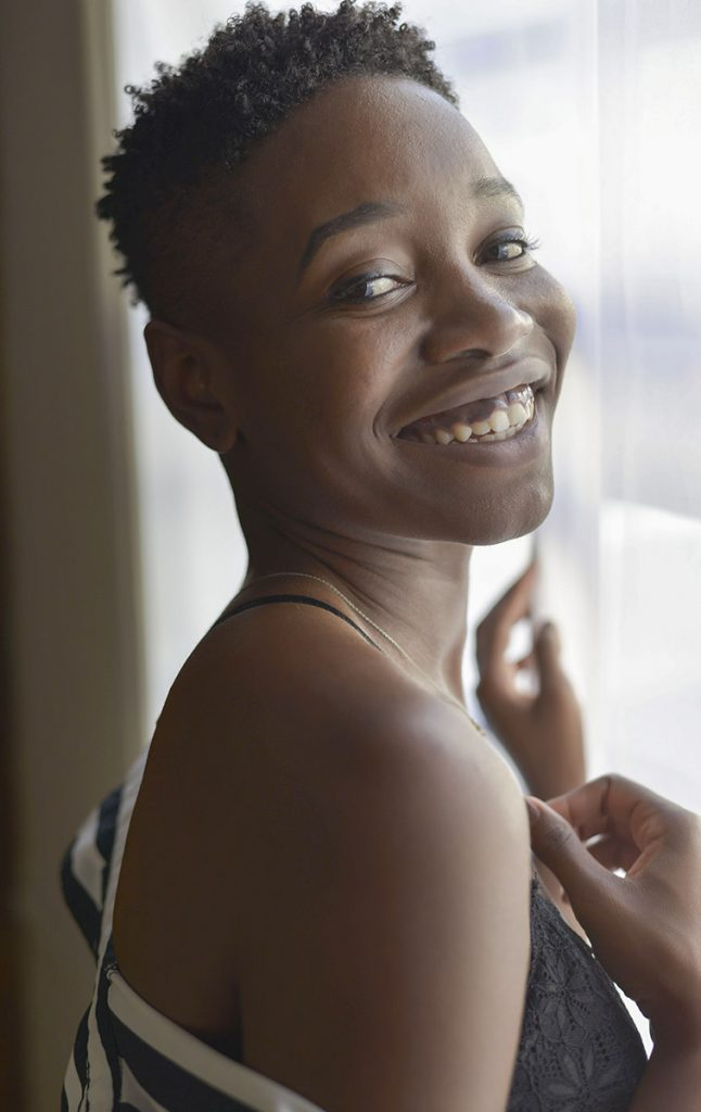 Close up of attractive smiling black woman