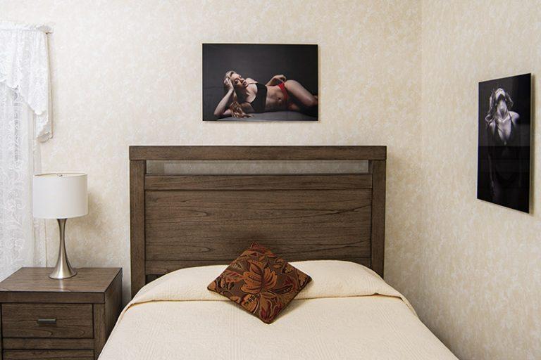 20x30 boudoir metal print over queen size bed