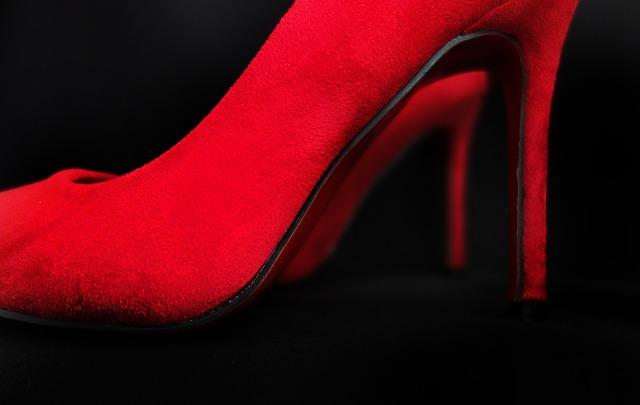 Red felt stilettos