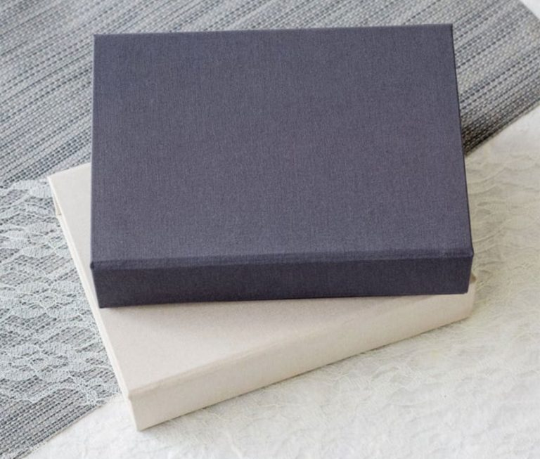 Two boudoir image boxes, gray and ivory